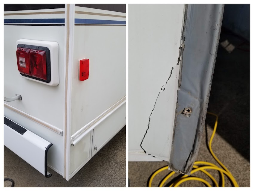 After and before shot of RV collision repair. Photo shows torn Filon and the final result fully repaired and matched colored Gelcoat