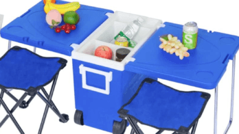 Gift ideas for RV owners and campers. Picture showing cooler with camping table and folding chairs